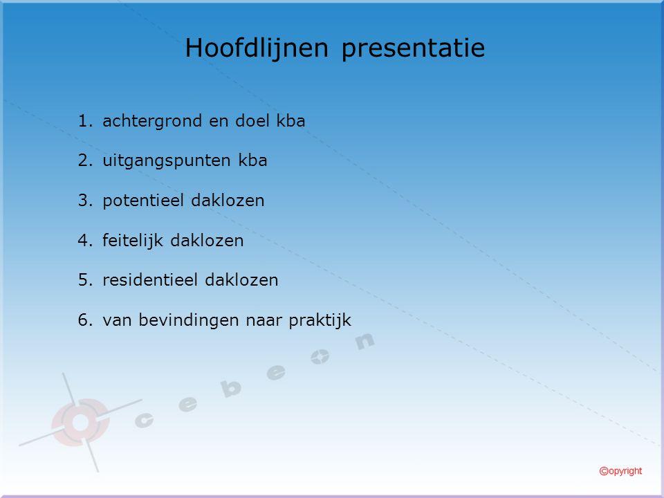 Hoofdlijnen presentatie 1.achtergrond en doel kba 2.uitgangspunten kba 3.potentieel daklozen 4.feitelijk daklozen 5.residentieel daklozen 6.van bevindingen naar praktijk