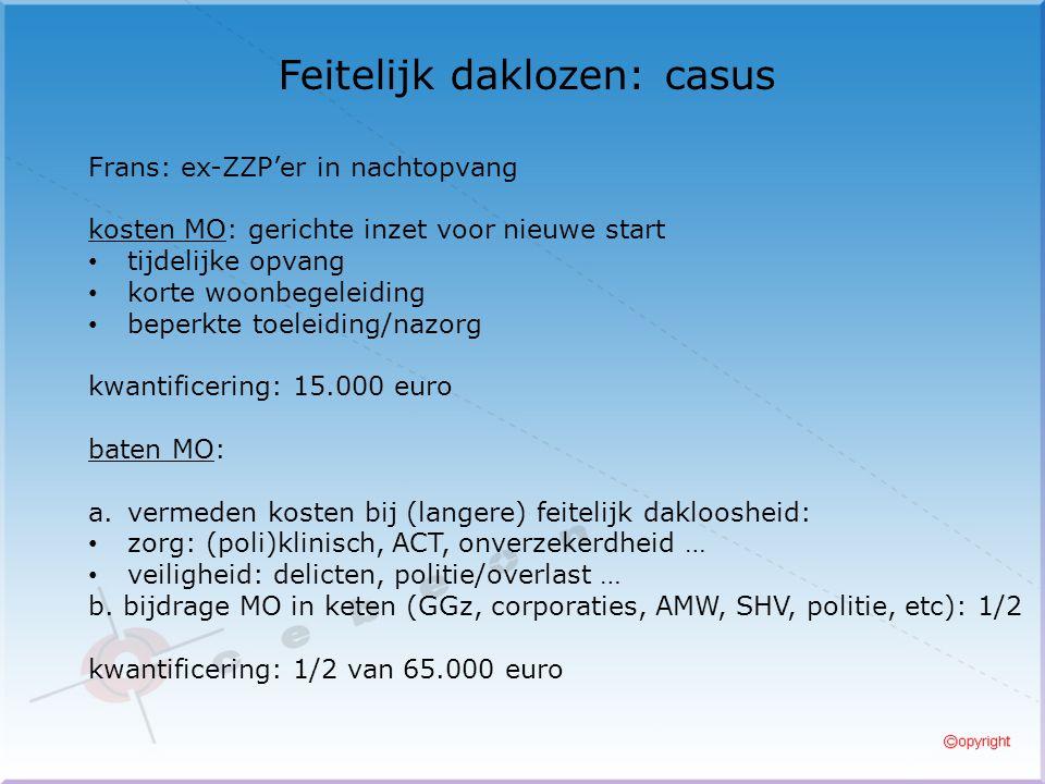 Feitelijk daklozen: casus Frans: ex-ZZP'er in nachtopvang kosten MO: gerichte inzet voor nieuwe start tijdelijke opvang korte woonbegeleiding beperkte toeleiding/nazorg kwantificering: 15.000 euro baten MO: a.vermeden kosten bij (langere) feitelijk dakloosheid: zorg: (poli)klinisch, ACT, onverzekerdheid … veiligheid: delicten, politie/overlast … b.