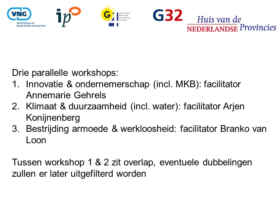 Drie parallelle workshops: 1.Innovatie & ondernemerschap (incl. MKB): facilitator Annemarie Gehrels 2.Klimaat & duurzaamheid (incl. water): facilitato