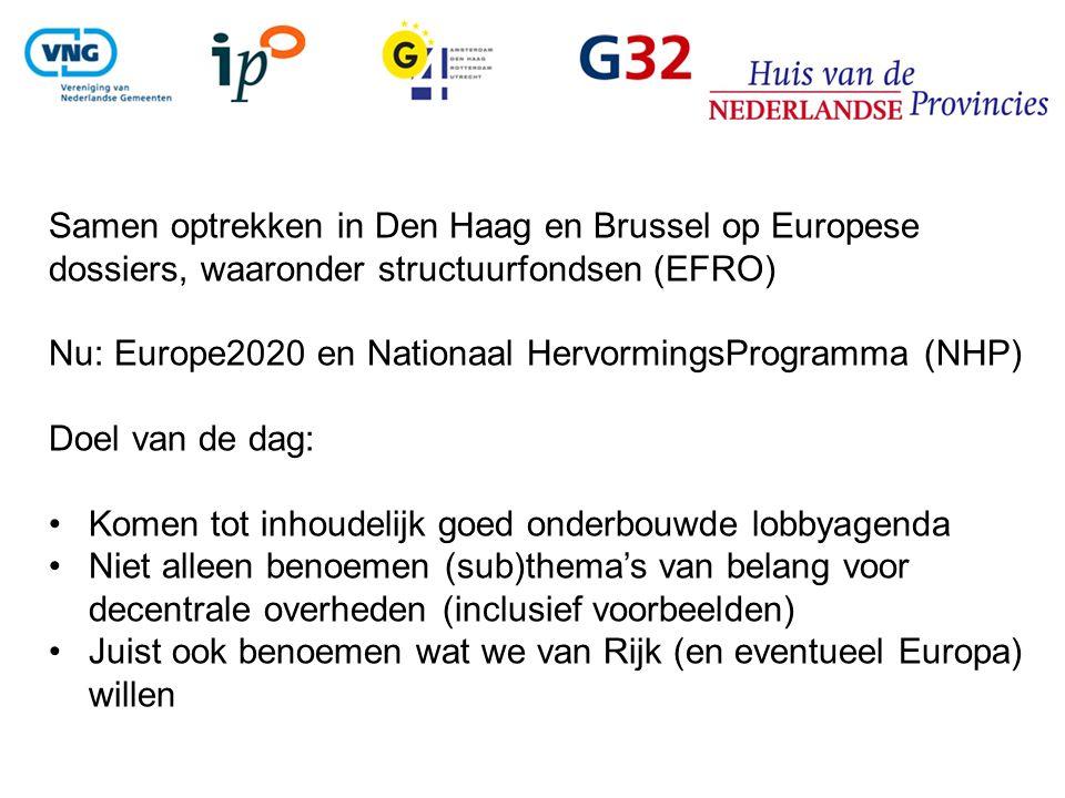 Samen optrekken in Den Haag en Brussel op Europese dossiers, waaronder structuurfondsen (EFRO) Nu: Europe2020 en Nationaal HervormingsProgramma (NHP) Doel van de dag: Komen tot inhoudelijk goed onderbouwde lobbyagenda Niet alleen benoemen (sub)thema's van belang voor decentrale overheden (inclusief voorbeelden) Juist ook benoemen wat we van Rijk (en eventueel Europa) willen