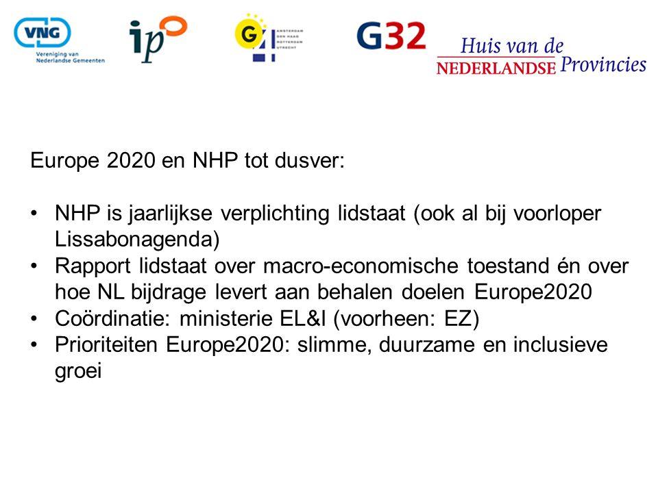 Europe 2020 en NHP tot dusver: NHP is jaarlijkse verplichting lidstaat (ook al bij voorloper Lissabonagenda) Rapport lidstaat over macro-economische toestand én over hoe NL bijdrage levert aan behalen doelen Europe2020 Coördinatie: ministerie EL&I (voorheen: EZ) Prioriteiten Europe2020: slimme, duurzame en inclusieve groei