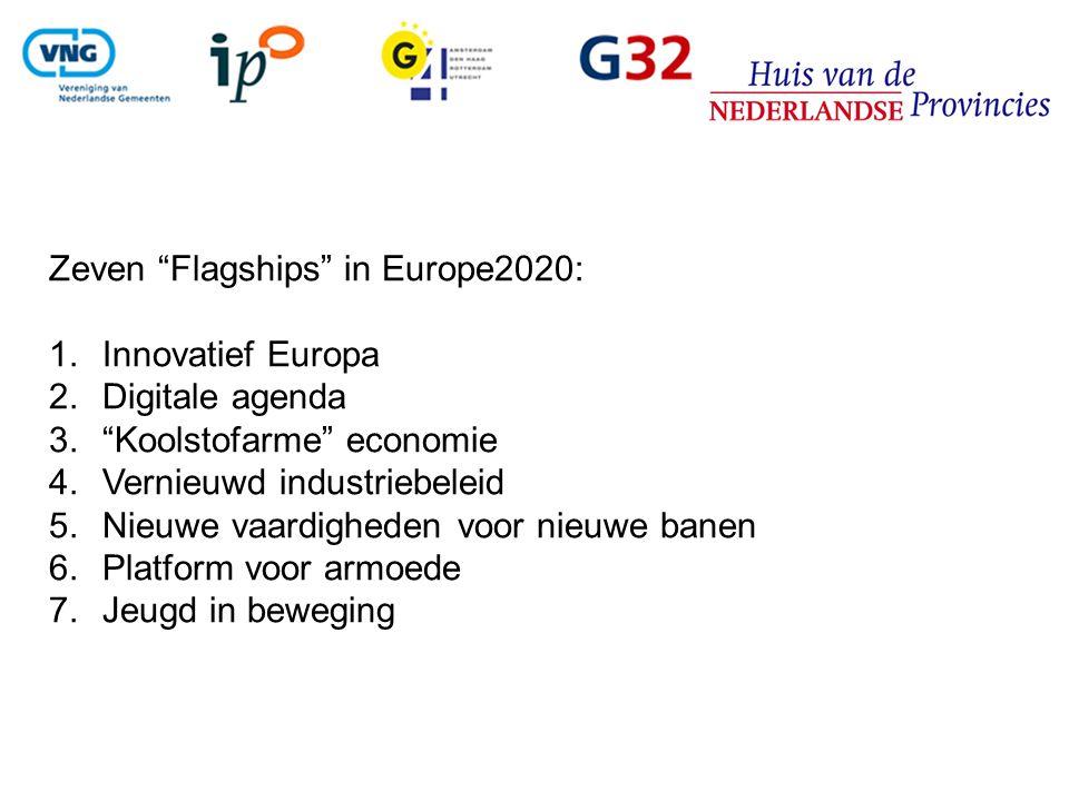 Zeven Flagships in Europe2020: 1.Innovatief Europa 2.Digitale agenda 3. Koolstofarme economie 4.Vernieuwd industriebeleid 5.Nieuwe vaardigheden voor nieuwe banen 6.Platform voor armoede 7.Jeugd in beweging