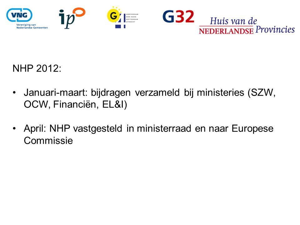 NHP 2012: Januari-maart: bijdragen verzameld bij ministeries (SZW, OCW, Financiën, EL&I) April: NHP vastgesteld in ministerraad en naar Europese Commi