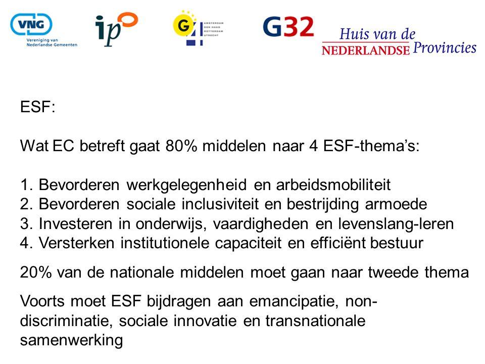 ESF: Wat EC betreft gaat 80% middelen naar 4 ESF-thema's: 1.Bevorderen werkgelegenheid en arbeidsmobiliteit 2.Bevorderen sociale inclusiviteit en bestrijding armoede 3.Investeren in onderwijs, vaardigheden en levenslang-leren 4.Versterken institutionele capaciteit en efficiënt bestuur 20% van de nationale middelen moet gaan naar tweede thema Voorts moet ESF bijdragen aan emancipatie, non- discriminatie, sociale innovatie en transnationale samenwerking