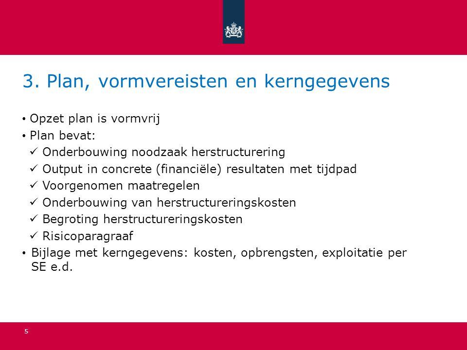 3. Plan, vormvereisten en kerngegevens Opzet plan is vormvrij Plan bevat: Onderbouwing noodzaak herstructurering Output in concrete (financiële) resul