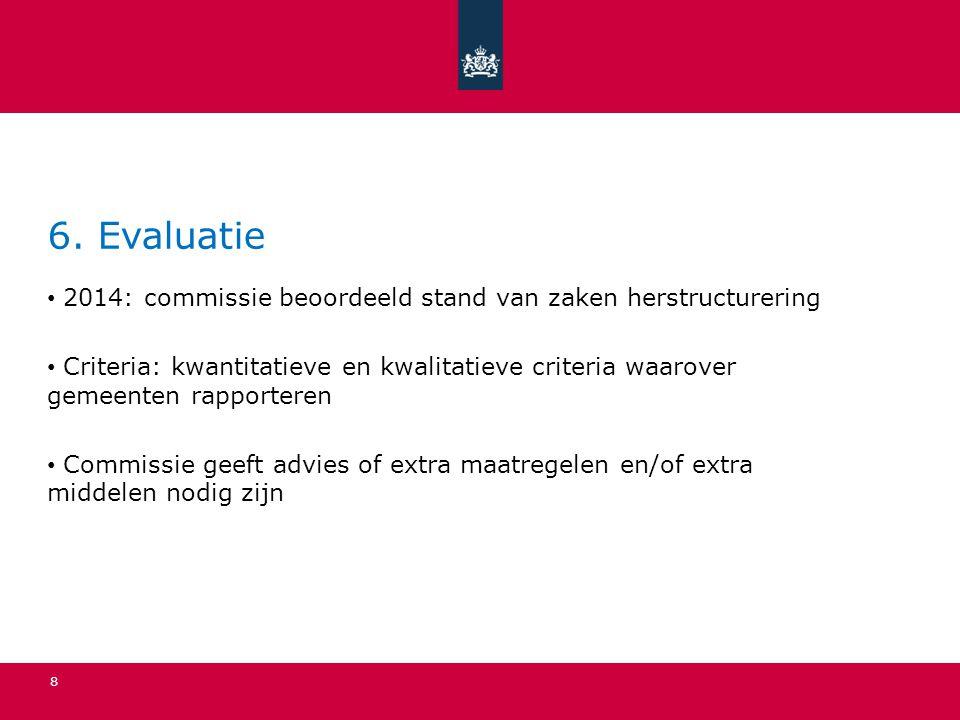6. Evaluatie 2014: commissie beoordeeld stand van zaken herstructurering Criteria: kwantitatieve en kwalitatieve criteria waarover gemeenten rapporter