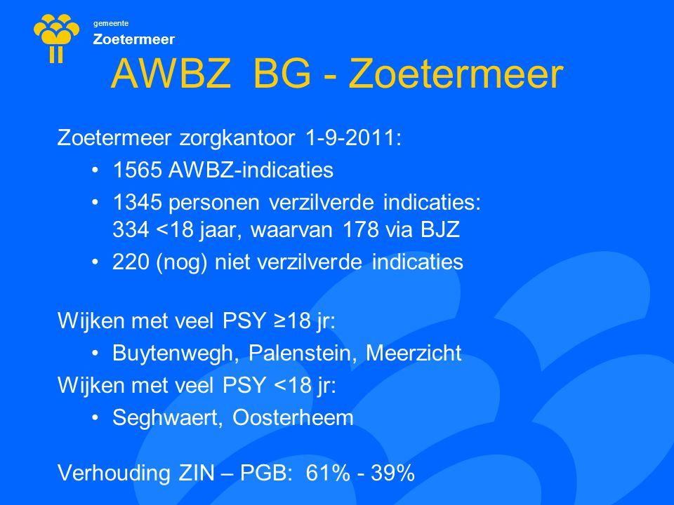 gemeente Zoetermeer AWBZ BG - Zoetermeer Zoetermeer zorgkantoor 1-9-2011: 1565 AWBZ-indicaties 1345 personen verzilverde indicaties: 334 <18 jaar, waa