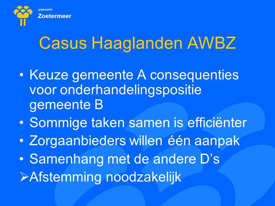 gemeente Zoetermeer Casus Haaglanden AWBZ Keuze gemeente A consequenties voor onderhandelingspositie gemeente B Sommige taken samen is efficiënter Zor