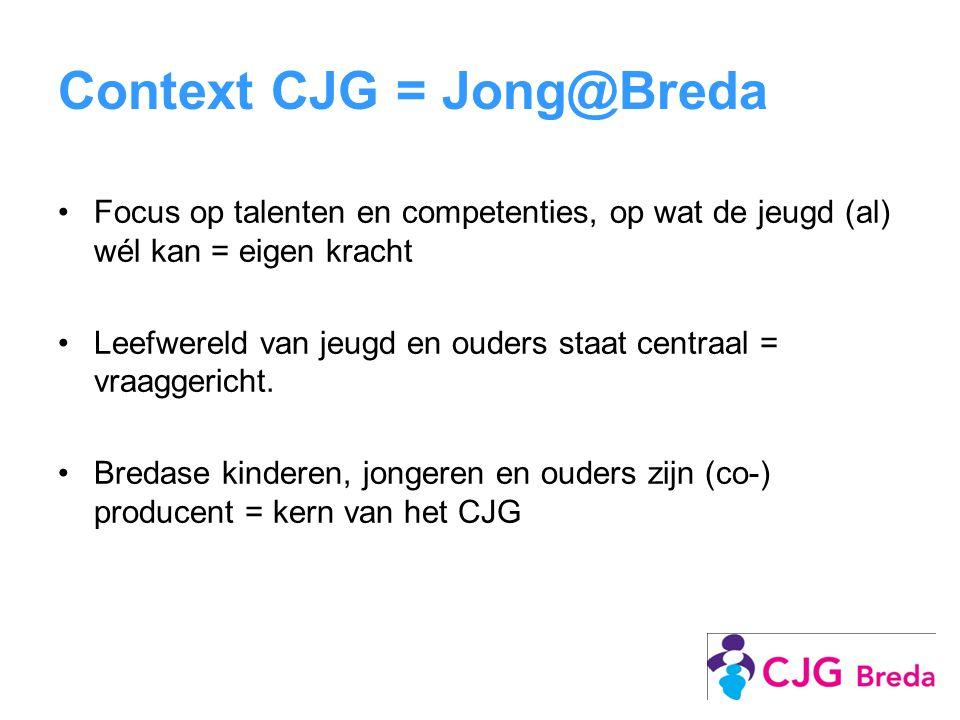 Context CJG = Jong@Breda Focus op talenten en competenties, op wat de jeugd (al) wél kan = eigen kracht Leefwereld van jeugd en ouders staat centraal = vraaggericht.