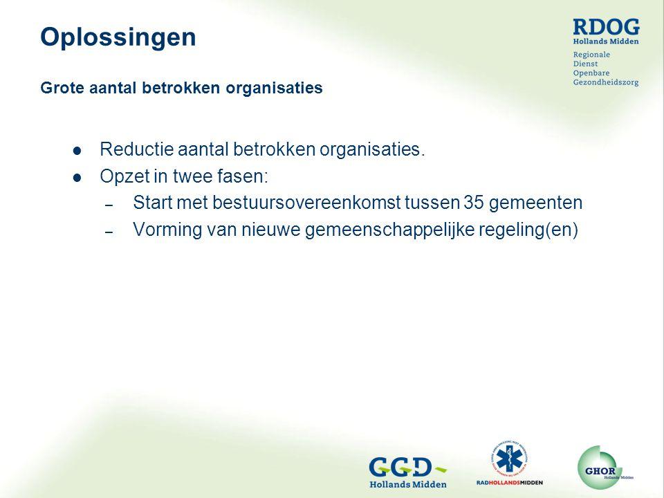 Reductie aantal betrokken organisaties. Opzet in twee fasen: – Start met bestuursovereenkomst tussen 35 gemeenten – Vorming van nieuwe gemeenschappeli