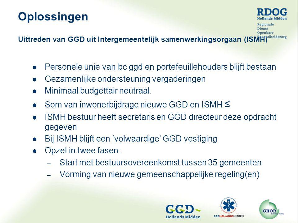 Personele unie van bc ggd en portefeuillehouders blijft bestaan Gezamenlijke ondersteuning vergaderingen Minimaal budgettair neutraal. Som van inwoner