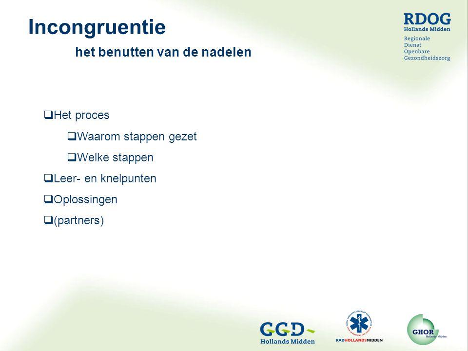 Incongruentie het benutten van de nadelen  Het proces  Waarom stappen gezet  Welke stappen  Leer- en knelpunten  Oplossingen  (partners)