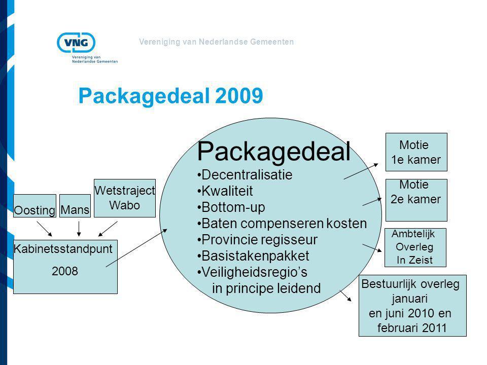 Vereniging van Nederlandse Gemeenten Packagedeal 2009 Packagedeal Decentralisatie Kwaliteit Bottom-up Baten compenseren kosten Provincie regisseur Bas