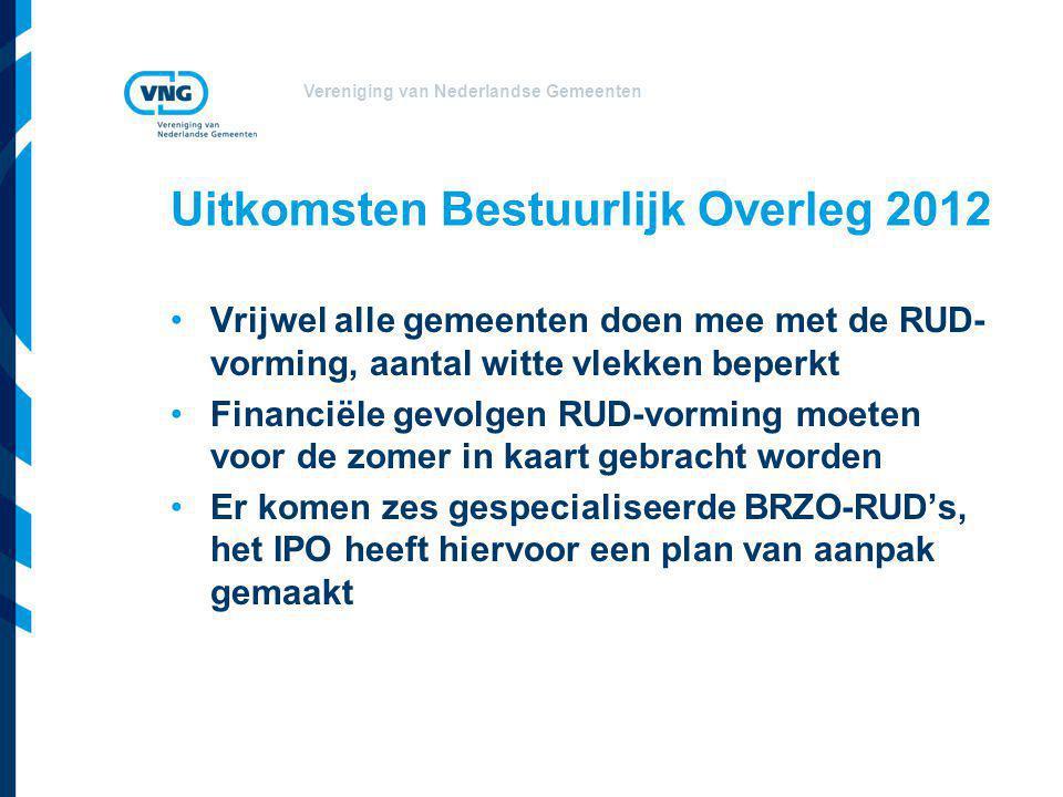 Vereniging van Nederlandse Gemeenten Uitkomsten Bestuurlijk Overleg 2012 Vrijwel alle gemeenten doen mee met de RUD- vorming, aantal witte vlekken beperkt Financiële gevolgen RUD-vorming moeten voor de zomer in kaart gebracht worden Er komen zes gespecialiseerde BRZO-RUD's, het IPO heeft hiervoor een plan van aanpak gemaakt