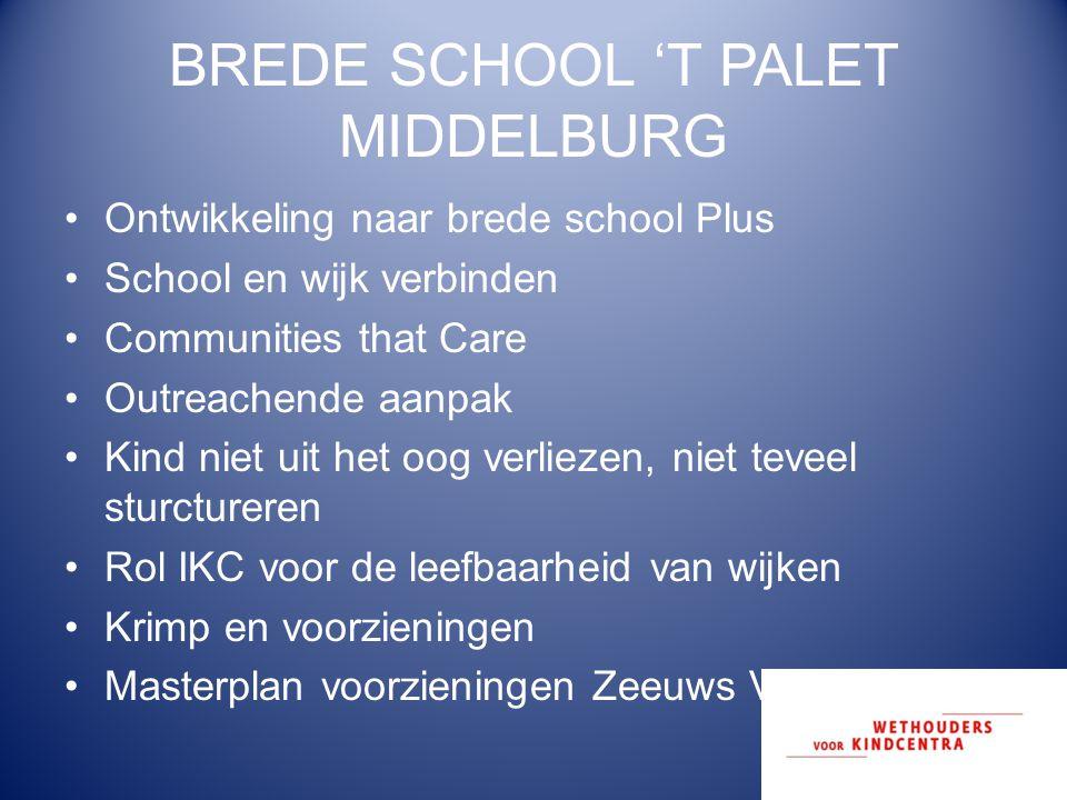 BREDE SCHOOL 'T PALET MIDDELBURG Ontwikkeling naar brede school Plus School en wijk verbinden Communities that Care Outreachende aanpak Kind niet uit