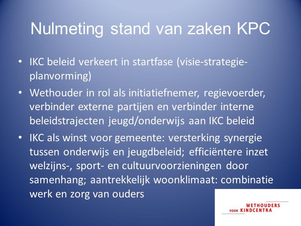 Nulmeting stand van zaken KPC IKC beleid verkeert in startfase (visie-strategie- planvorming) Wethouder in rol als initiatiefnemer, regievoerder, verb
