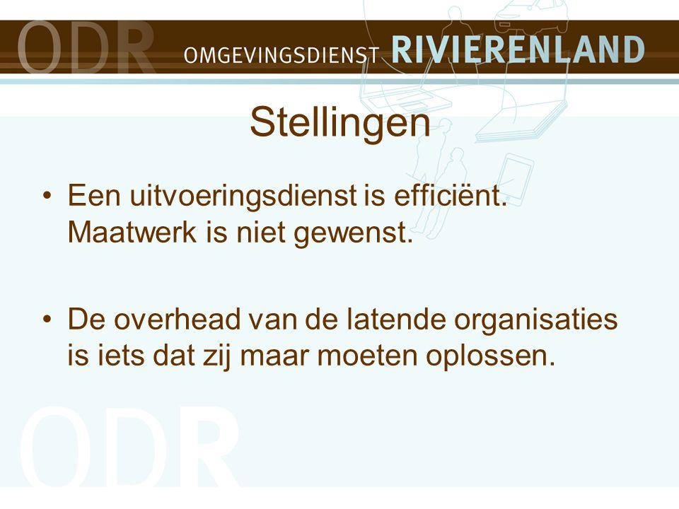Stellingen Een uitvoeringsdienst is efficiënt. Maatwerk is niet gewenst.