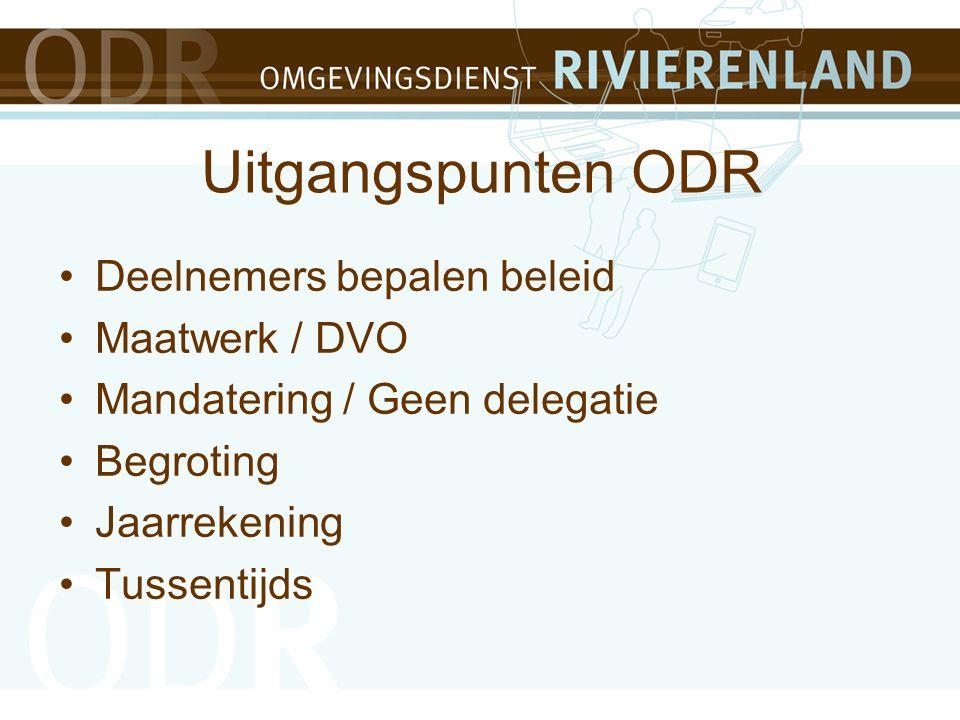 Uitgangspunten ODR 50% gemeenten + provincie alle taken 50% gemeenten vooralsnog milieu taken Efficiency door koppeling bouw / RO en milieutaken Overhead zo laag mogelijk (23,5%) Van input naar output