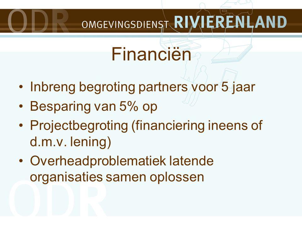 Financiën Inbreng begroting partners voor 5 jaar Besparing van 5% op Projectbegroting (financiering ineens of d.m.v.