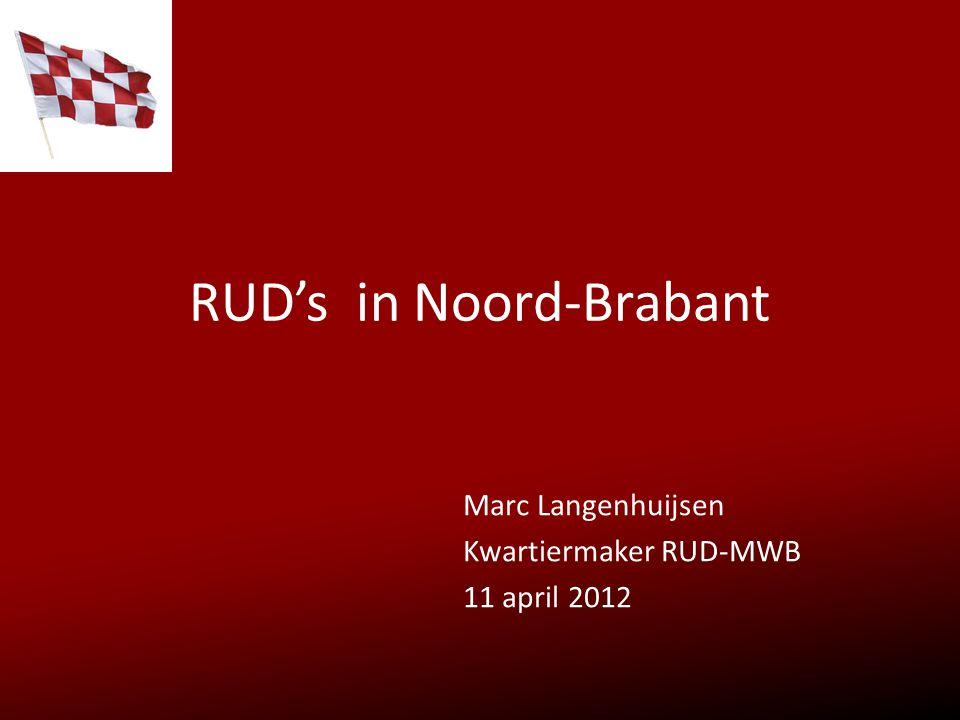 In Brabant 3 R.U.D.'s met verschillende historie NO ZO en MWB RUD MWB (BRZO incl provinciale Milieumeetdienst) Kwartiermakersoverleg N-Br RUD-afstemmingsplatform