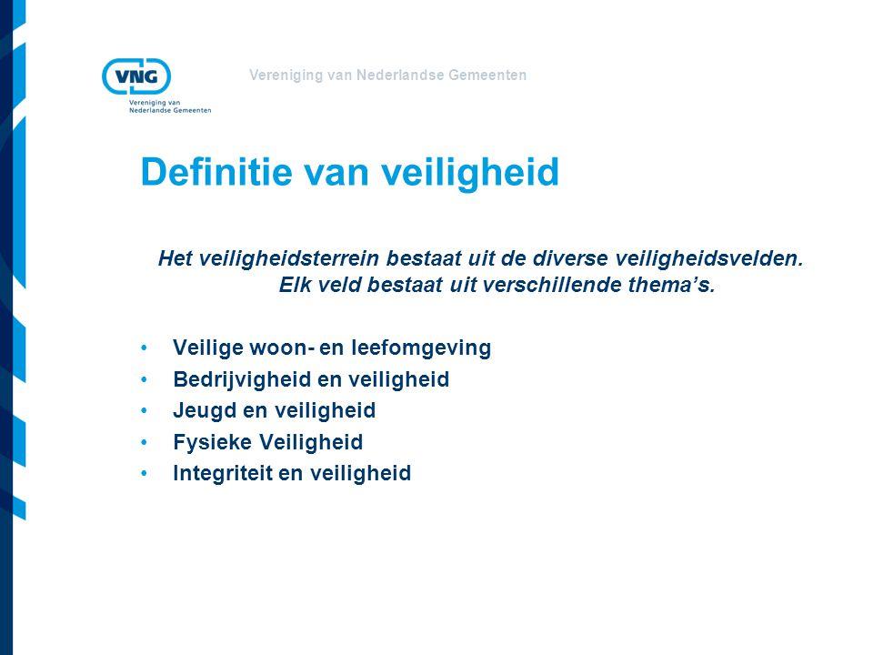 Vereniging van Nederlandse Gemeenten Definitie van veiligheid Het veiligheidsterrein bestaat uit de diverse veiligheidsvelden. Elk veld bestaat uit ve