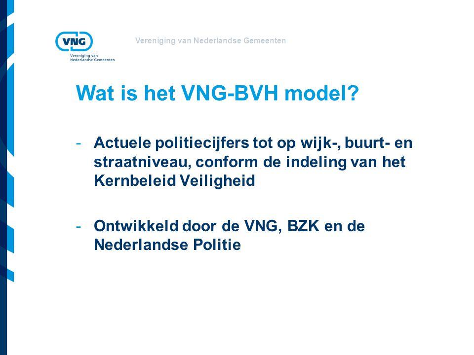 Vereniging van Nederlandse Gemeenten Wat is het VNG-BVH model? -Actuele politiecijfers tot op wijk-, buurt- en straatniveau, conform de indeling van h
