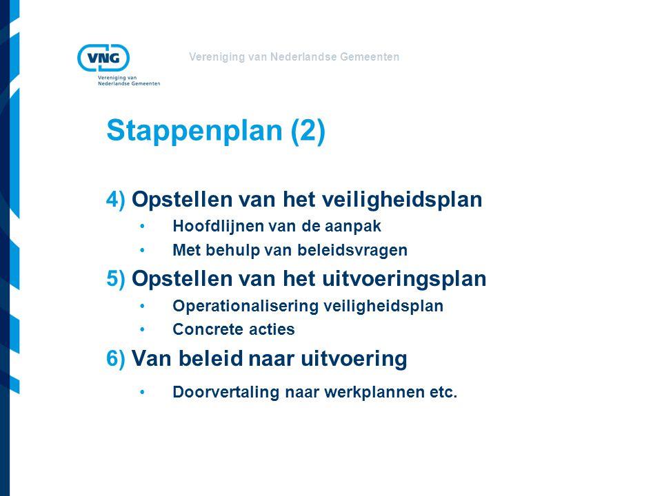 Vereniging van Nederlandse Gemeenten Stappenplan (2) 4) Opstellen van het veiligheidsplan Hoofdlijnen van de aanpak Met behulp van beleidsvragen 5) Op