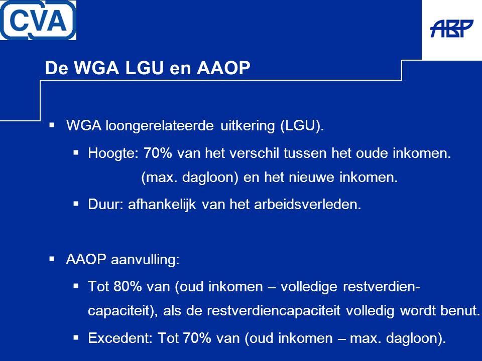 De WGA LGU en AAOP  WGA loongerelateerde uitkering (LGU).  Hoogte: 70% van het verschil tussen het oude inkomen. (max. dagloon) en het nieuwe inkome