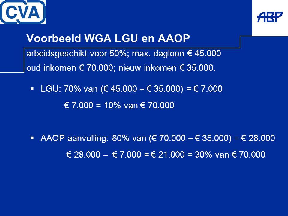 Voorbeeld WGA LGU en AAOP arbeidsgeschikt voor 50%; max. dagloon € 45.000 oud inkomen € 70.000; nieuw inkomen € 35.000.  LGU: 70% van (€ 45.000 – € 3