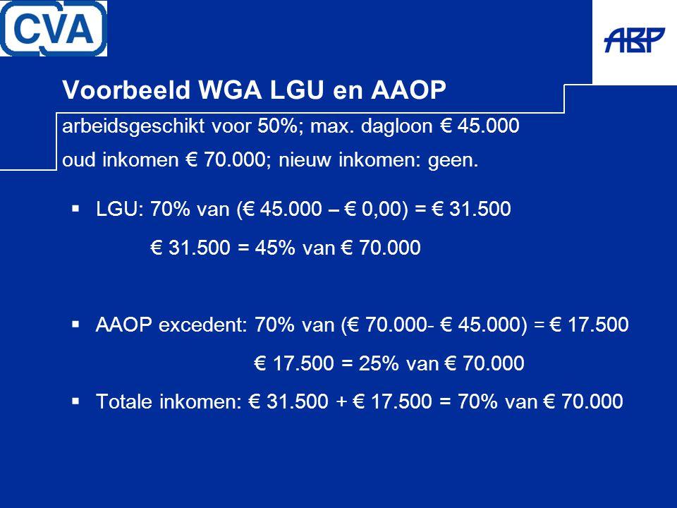 Voorbeeld WGA LGU en AAOP arbeidsgeschikt voor 50%; max. dagloon € 45.000 oud inkomen € 70.000; nieuw inkomen: geen.  LGU: 70% van (€ 45.000 – € 0,00