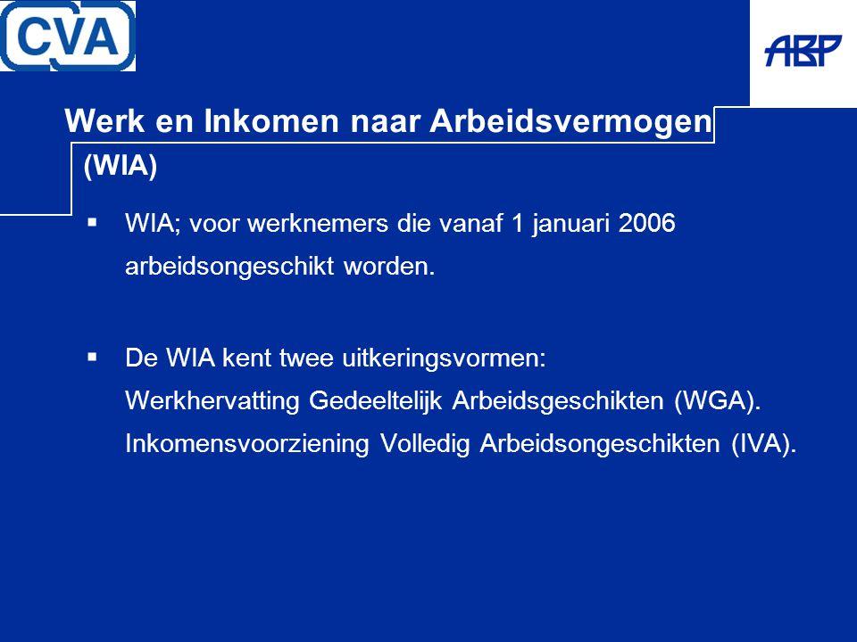 Werk en Inkomen naar Arbeidsvermogen (WIA)  WIA; voor werknemers die vanaf 1 januari 2006 arbeidsongeschikt worden.  De WIA kent twee uitkeringsvorm