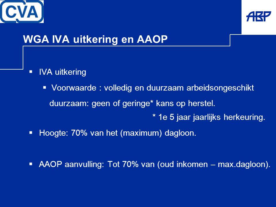 WGA IVA uitkering en AAOP  IVA uitkering  Voorwaarde : volledig en duurzaam arbeidsongeschikt duurzaam: geen of geringe* kans op herstel. * 1e 5 jaa