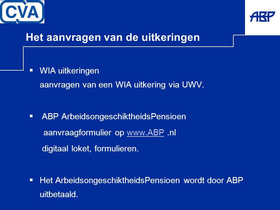 Het aanvragen van de uitkeringen  WIA uitkeringen aanvragen van een WIA uitkering via UWV.  ABP ArbeidsongeschiktheidsPensioen aanvraagformulier op