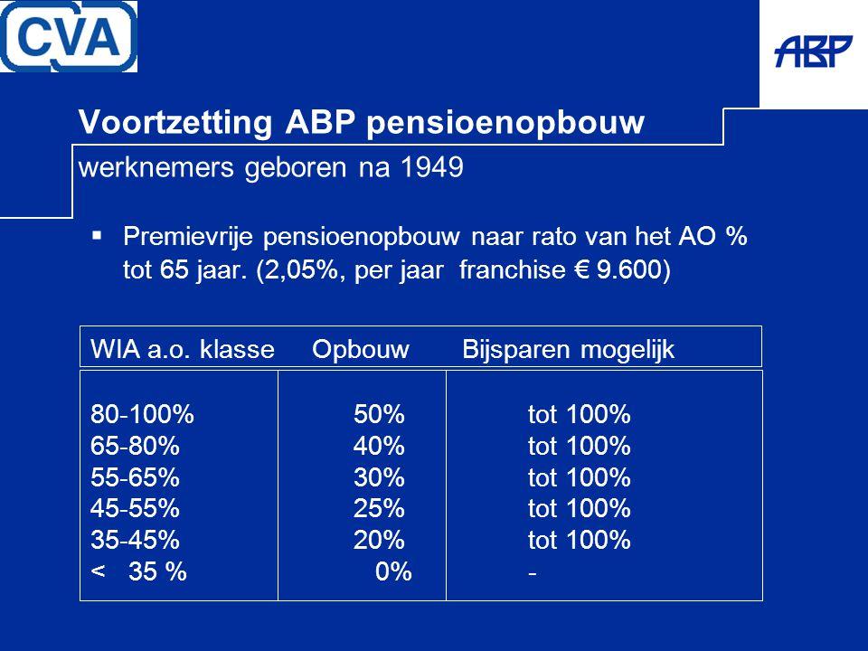Voortzetting ABP pensioenopbouw werknemers geboren na 1949  Premievrije pensioenopbouw naar rato van het AO % tot 65 jaar. (2,05%, per jaar franchise