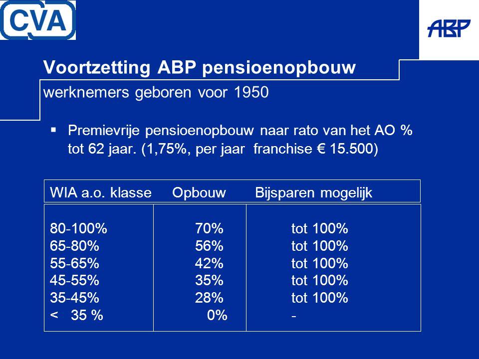 Voortzetting ABP pensioenopbouw werknemers geboren voor 1950  Premievrije pensioenopbouw naar rato van het AO % tot 62 jaar. (1,75%, per jaar franchi