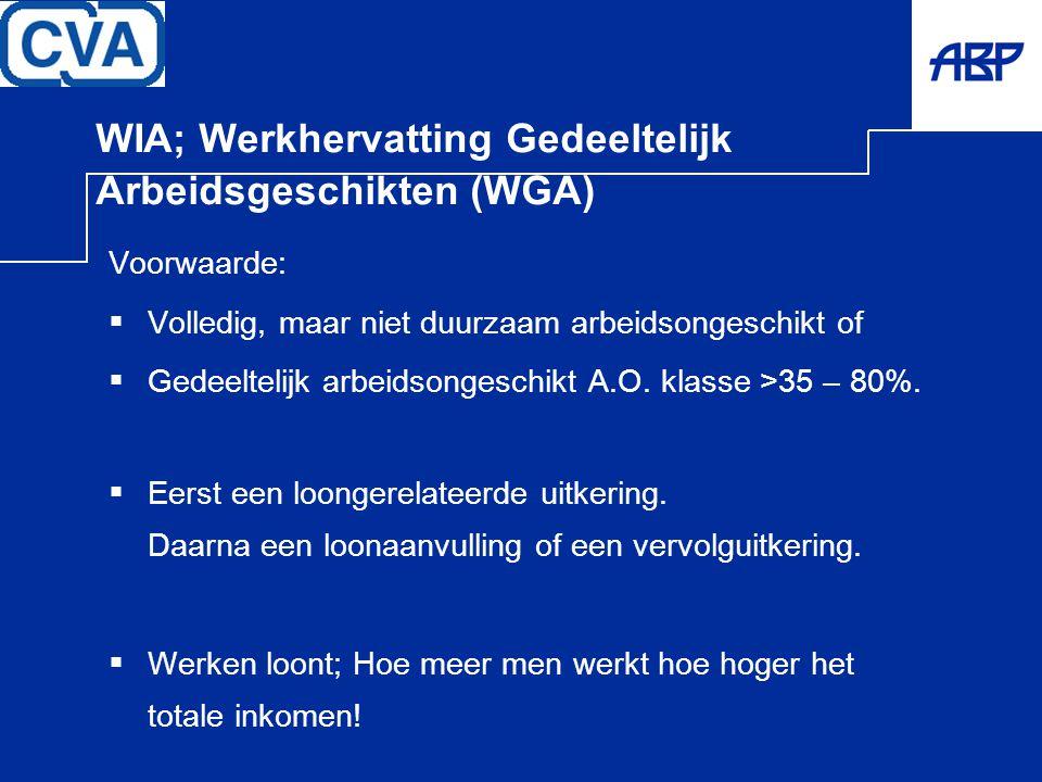 WIA; Werkhervatting Gedeeltelijk Arbeidsgeschikten (WGA) Voorwaarde:  Volledig, maar niet duurzaam arbeidsongeschikt of  Gedeeltelijk arbeidsongesch