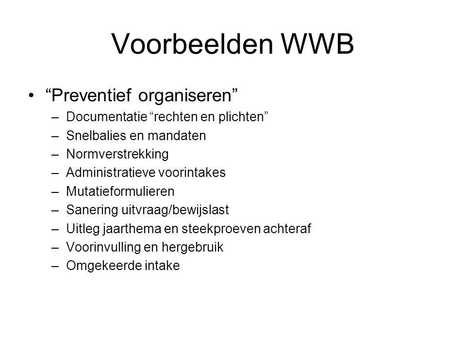 """Voorbeelden WWB """"Preventief organiseren"""" –Documentatie """"rechten en plichten"""" –Snelbalies en mandaten –Normverstrekking –Administratieve voorintakes –M"""