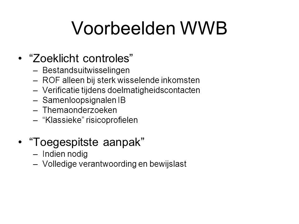 """Voorbeelden WWB """"Zoeklicht controles"""" –Bestandsuitwisselingen –ROF alleen bij sterk wisselende inkomsten –Verificatie tijdens doelmatigheidscontacten"""