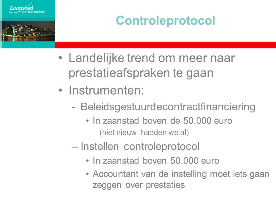 Controleprotocol Landelijke trend om meer naar prestatieafspraken te gaan Instrumenten: -Beleidsgestuurdecontractfinanciering In zaanstad boven de 50.