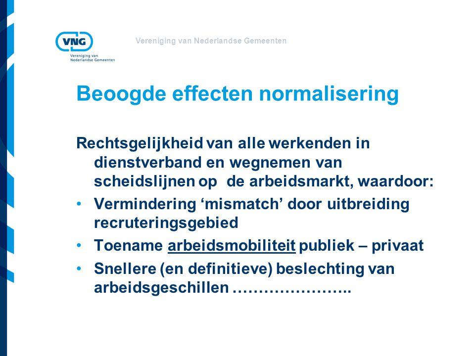 Vereniging van Nederlandse Gemeenten Beoogde effecten normalisering Rechtsgelijkheid van alle werkenden in dienstverband en wegnemen van scheidslijnen