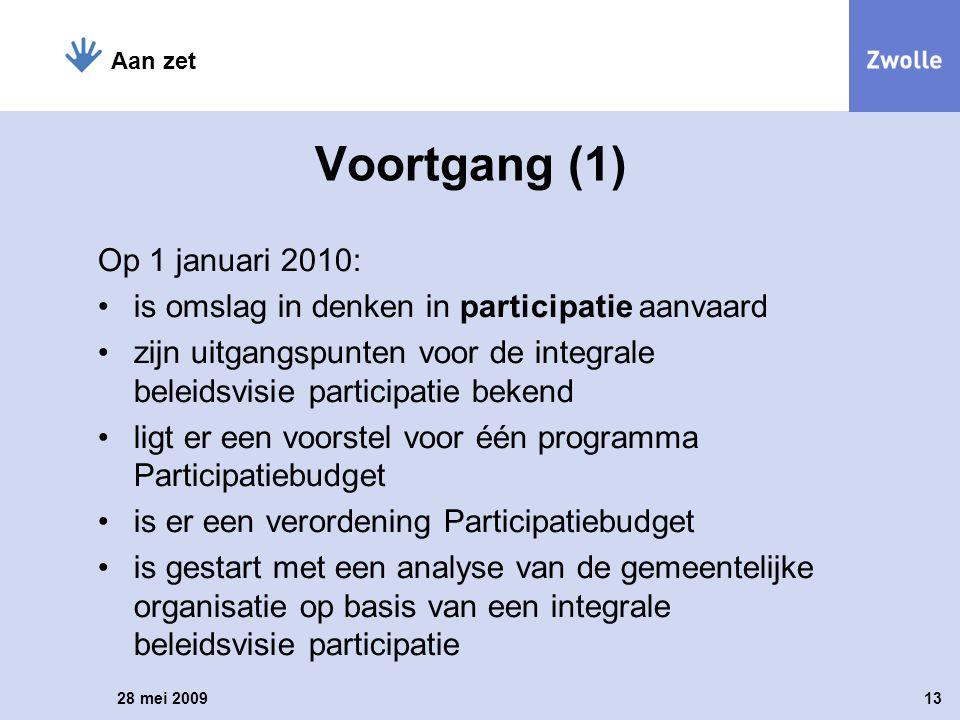 Op 1 januari 2010: is omslag in denken in participatie aanvaard zijn uitgangspunten voor de integrale beleidsvisie participatie bekend ligt er een voo