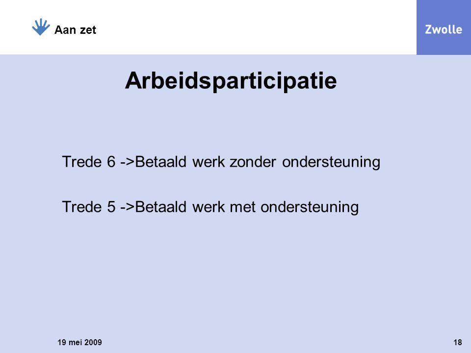 Trede 6 ->Betaald werk zonder ondersteuning Trede 5 ->Betaald werk met ondersteuning 19 mei 200918 Aan zet Arbeidsparticipatie