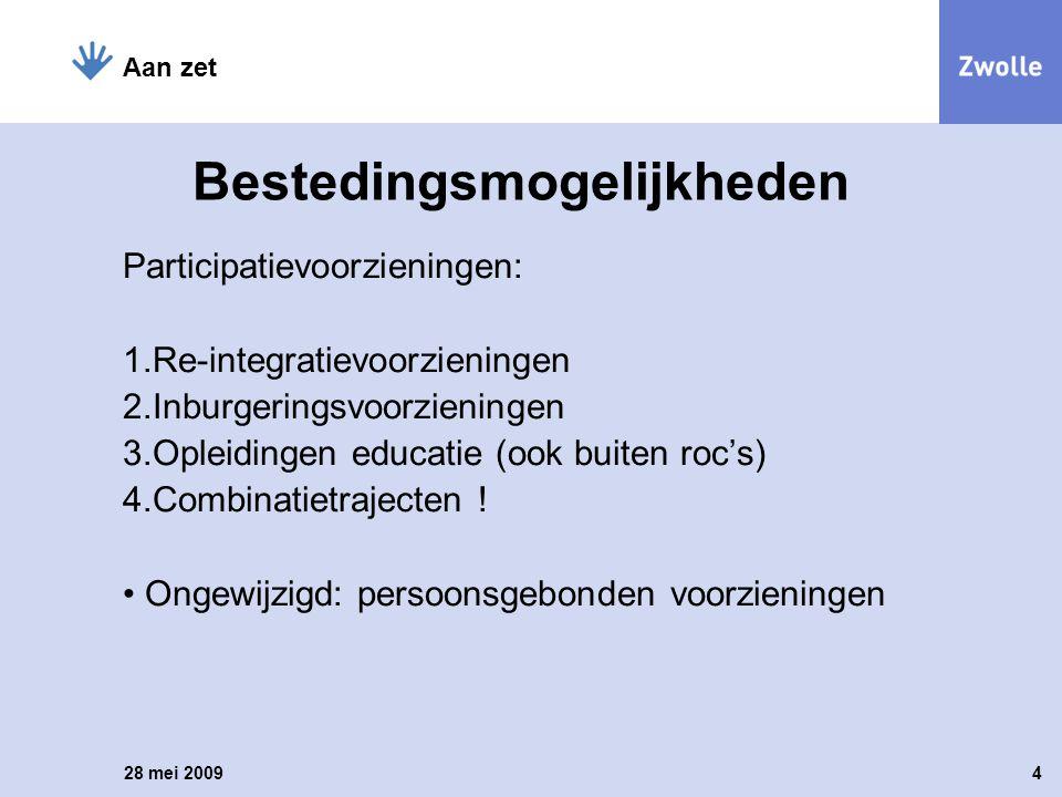 Bestedingsmogelijkheden Participatievoorzieningen: 1.Re-integratievoorzieningen 2.Inburgeringsvoorzieningen 3.Opleidingen educatie (ook buiten roc's)