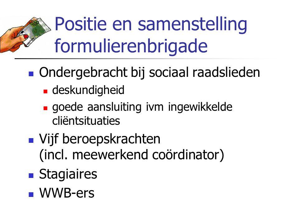 Positie en samenstelling formulierenbrigade Ondergebracht bij sociaal raadslieden deskundigheid goede aansluiting ivm ingewikkelde cliëntsituaties Vij