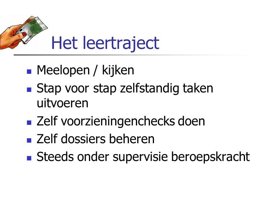 Het leertraject Meelopen / kijken Stap voor stap zelfstandig taken uitvoeren Zelf voorzieningenchecks doen Zelf dossiers beheren Steeds onder supervis