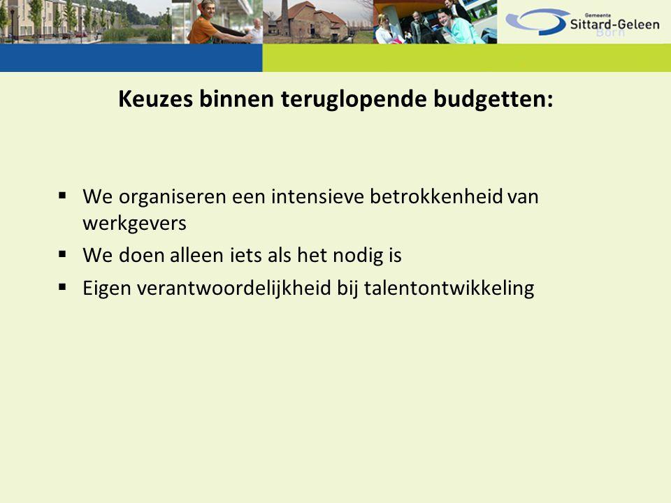 Keuzes binnen teruglopende budgetten:  We organiseren een intensieve betrokkenheid van werkgevers  We doen alleen iets als het nodig is  Eigen vera