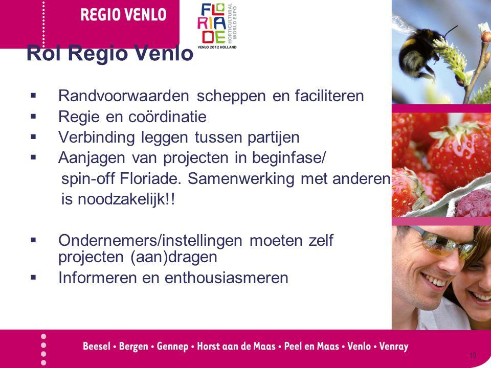 Rol Regio Venlo  Randvoorwaarden scheppen en faciliteren  Regie en coördinatie  Verbinding leggen tussen partijen  Aanjagen van projecten in beginfase/ spin-off Floriade.