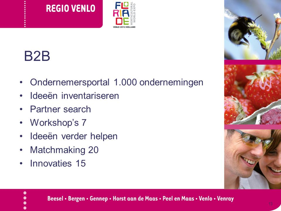 B2B Ondernemersportal 1.000 ondernemingen Ideeën inventariseren Partner search Workshop's 7 Ideeën verder helpen Matchmaking 20 Innovaties 15 13