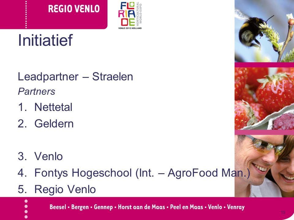 Initiatief Leadpartner – Straelen Partners 1.Nettetal 2.Geldern 3.Venlo 4.Fontys Hogeschool (Int. – AgroFood Man.) 5.Regio Venlo 19