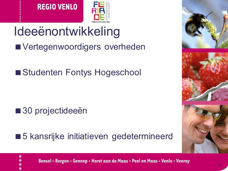 Ideeënontwikkeling  Vertegenwoordigers overheden  Studenten Fontys Hogeschool  30 projectideeën  5 kansrijke initiatieven gedetermineerd 20
